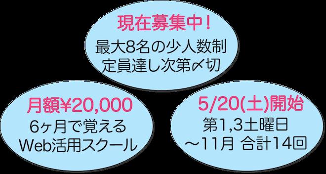 現在募集中! 月額2万円で始める6ヶ月のスクール 5/20(土)スタート全14回