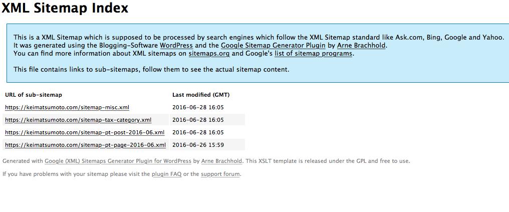 Google XML Sitemapのsitemap.xml