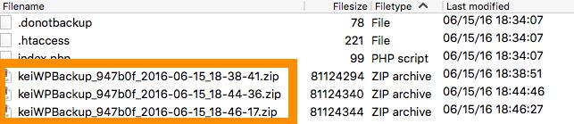 BackWPup>バックアップしたzipファイルをFileZillaから確認