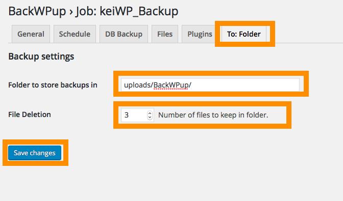 BackWPup>バックアップ先フォルダーの設定 アップロード先と世代管理を設定する