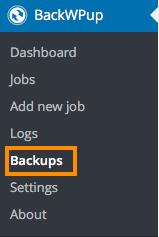 BackWPup>Backupsを選択