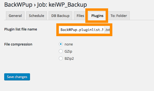 BackWPup>プラグインの設定
