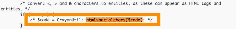 crayon_formatter.class.php  「$code = CrayonUtil::htmlspecialchars($code)」をコメントアウト