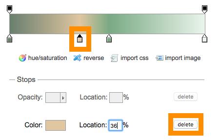 Ultimate CSS Gradient Generator色のポイントを削除する