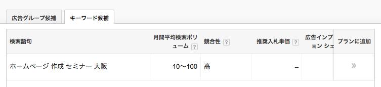 キーワードプランナーによる検索ボリュームと競合性 「ホームページ作成 セミナー 大阪